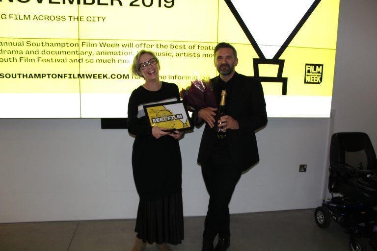 Darren Kerr presents the SFW: Shorts prizes to 'Bus Stop' filmmaker Vanessa Bailey