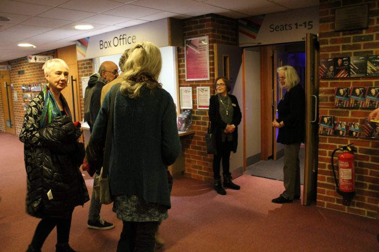 Audience members going into the screening of Salomé